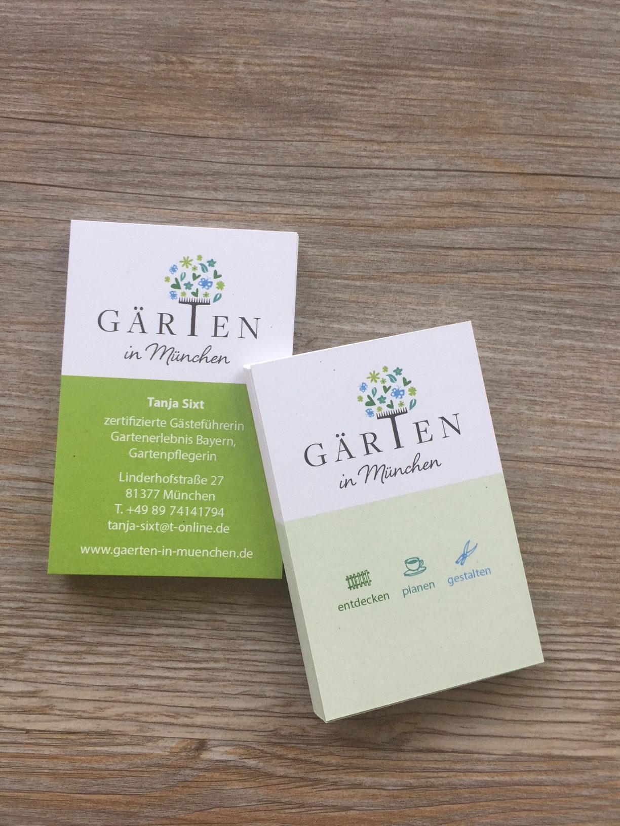 Büro Für Gute Gestaltung Gärten In München Visitenkarten